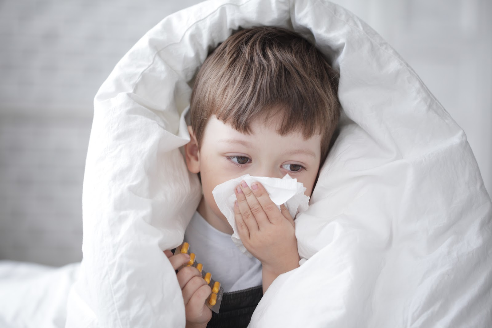 Young boy wipes his nose with tissue under white bed sheets.